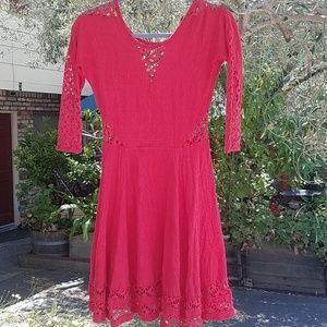 Free People Dress with Crocheted Accents